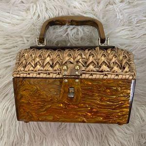 VINTAGE 60's lucite straw woven gold box handbag